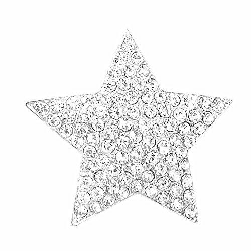 Magnet Brosche für Schal Poncho Taschen Strass Steine Anstecker Gold Silber (Stern Silber) (Magnete Tasche)