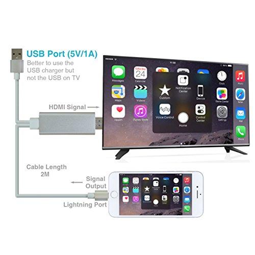 Iphone HDMI Fernsehkabel, Plug-and-Play, Blitz iphone zum HDMI HDTV-Anzeigenadapterkabel für iphone7 / 6 / Plus / 5S Handy (keine app, keine Einstellung mehr)
