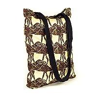 LimeWorks Shopping Bag Shoulder Bag Tote Bag - Camel Pattern - Lined