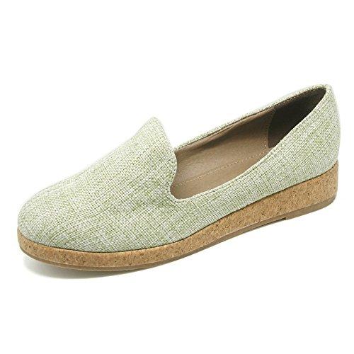 AalarDom Damen Rein Weiches Material Niedriger Absatz Ziehen Auf Pumps Schuhe Grün