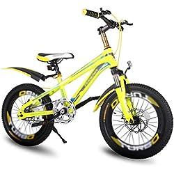 Bicicletas estudiantil de 7 velocidades montaña niño niña 18 Pulgadas, Marco de Acero de Alto Carbono, Freno de Disco Doble mecánico