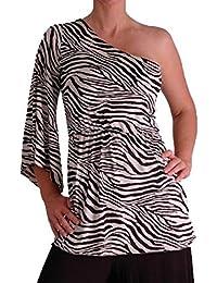 EyeCatchClothing - Stretch Zebramuster einschultriges Top Einheitsgröße