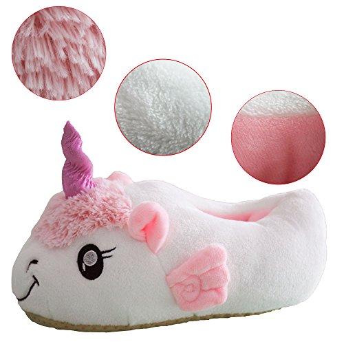 J&L Einhorn Weicher Plüsch Hausschuhe Slip Horn Slippers Hausschuhe für Erwachsene New Pink