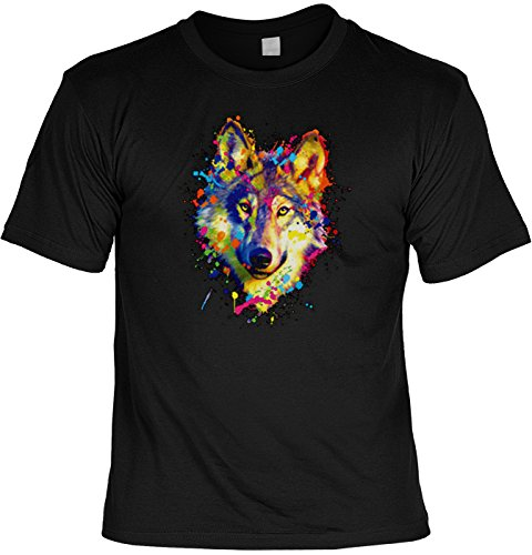 T-Shirt mit buntem Tier Motiv - Wolf - Geschenk für alle Tierliebhaber - schwarz Schwarz