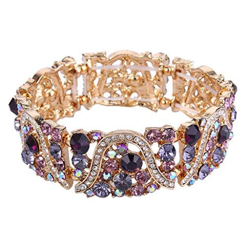 EVER FAITH-Collana DonnaArt Deco onda nuziale di stirata del braccialetto elastico con cristallo austriaca ,Una confezione
