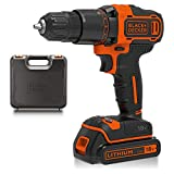 BLACK+DECKER 18V Cordless 2-Gear Hammer Drill with Kitbox and 1.5Ah Lithium Ion Battery