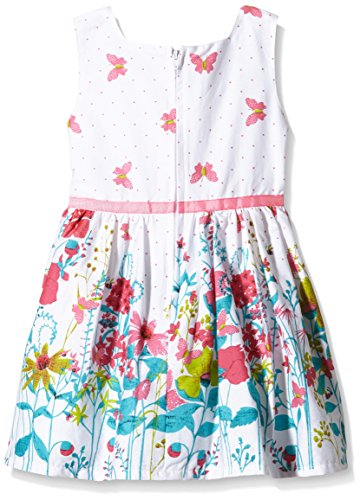 happy girls m dchen kleid mit blumen schmetterling print gebl mt gr 128 mehrfarbig pink 37. Black Bedroom Furniture Sets. Home Design Ideas