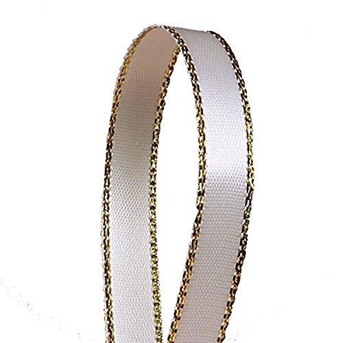 seventopia 3/10,2cm Satinband mit Golden Kanten 25Meter für Handwerk, DIY, Haar Schleifen und Geschenkverpackungen 1 CT beige