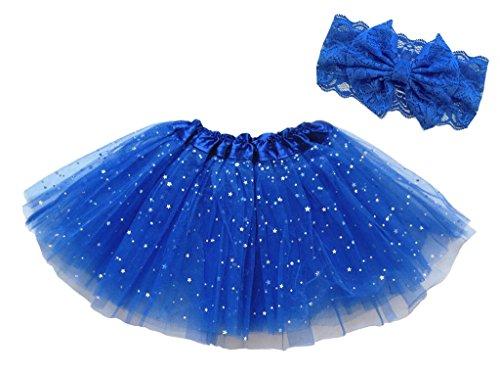 Dancina Mädchen Tüllrock Ballettrock Glitzer Sterne m. passendem Haarband Blau Glitter 2-4 Jahre