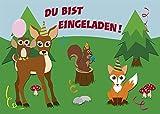 lustige Waldtiere 10 Einladungskarten