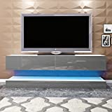 1x Modern TV Stand Cabinet with LED Lights High Gloss, Item Dimension: Height 45 cm*Width 130 cm*Depth 34 cm (Grey)