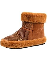 Jitong Bottes Femme de Neige Cheville Bottines en Daim Talon Plat Chaussures  Fausse Fourrure Zipper Boots 857b3e8a9a8e