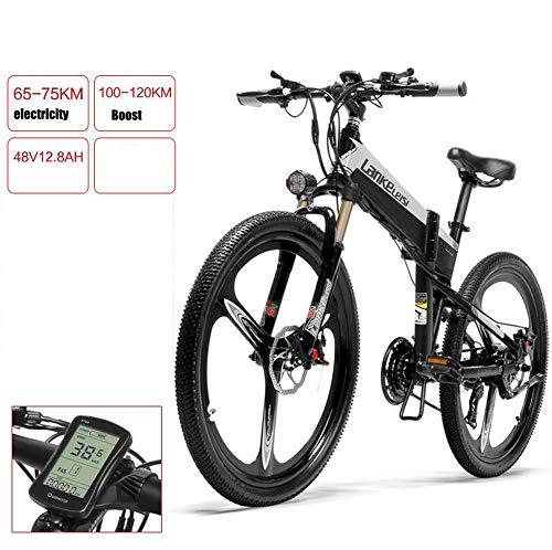 MYYDD Elektrisches Fahrrad 36V / 48V Mens Mountain Ebike 26 Zoll Reifen Rennrad Schnee Fahrrad Pedale mit Abnehmbarer Lithium-Batterie,B,48V75km