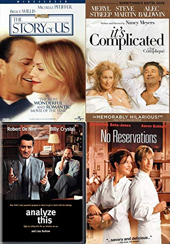 Fun & Love 4 Movies Comedy Romance Collection No Reservations + Story of Us + It's Complicated Meryl Streep & Analyze This Robert De Niro (DVD Bundle Feature Films)