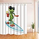 GoHEBE Wildtiere Duschvorhang für Badezimmer, lustiges red-eyes Frösche mit Brille und Trinken Stehen Surfboard Polyester Stoff Duschvorhang Wasserdichte Badezimmer Duschvorhang Haken inklusive