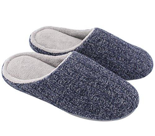 HomeTop Männer Baumwolle Aus Gewirken Anti - Rutsch Herren Hausschuhe Blau