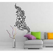 (62 x 120 cm) de vinilo adhesivo decorativo para pared con flores de Henna/lámina de decoración de diseño de tatuajes de Vinilo/Indian Mehandi extraíble de tela de vinilo al azar incluye + regalo!
