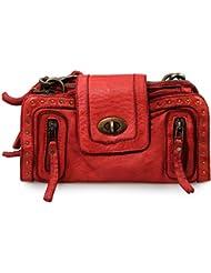 IO.iO.mIO dOLCE vintage en cuir 2 en 1, sac à main clutch cross couleur au choix :  24 x 12 x 4 cm (l x h x p)