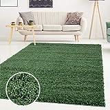 Shaggy-Teppich, Flauschiger Hochflor Wohn-Teppich, Einfarbig/Uni in Grün für Wohnzimmer, Schlafzimmmer, Kinderzimmer, Esszimmer, Größe: Läufer 60 x 110 cm