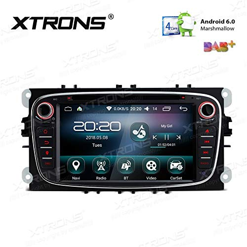 Xtrons PS76FSF-B - Radio de Coche para Ford (7 Pulgadas, 2 DIN, DVD, USB, GPS, Bluetooth, Wi-Fi, Android), Color Negro