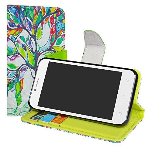 LiuShan Lenovo B Hülle, Brieftasche Handyhülle Schutzhülle PU Leder mit Kartenfächer und Standfunktion für Lenovo B Smartphone (mit 4in1 Geschenk verpackt),Love Tree