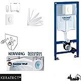 Grohe Vorwandelement mit Drückerplatte, Keramag Renova Nr. 1, rimfree, Spülrandlos, Tiefspül-WC, WC Sitz , Keratect Beschichtung