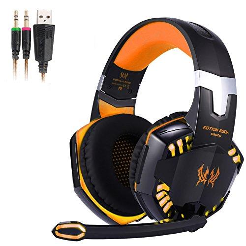 3,5mm Gaming Headset Mic Kopfhörer Stereo LED Verstärker, Mikrofon für Computer- PC, On-Cable-Bedienelemente, Noise Cancelling, Sport-Performance-Ohrpolster, Geringes Gewicht, Ein-Tasten-Ton aus