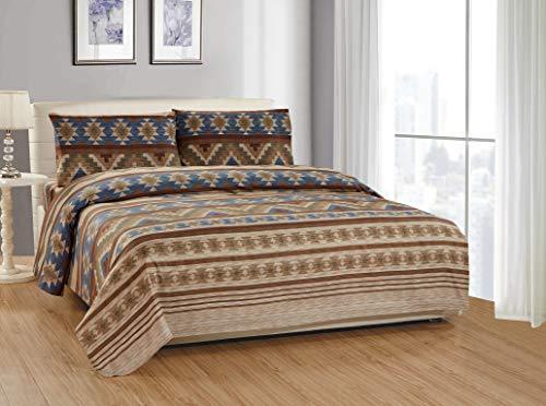 Bettwäsche-Set für King-Size-Bett, rustikal, westlicher Südwestern, Indianer, Beige, Taupe, Braun, Blau und Grün, 4-teilig (Decke Set Western)