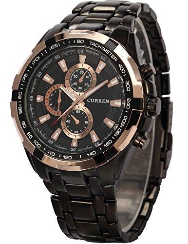 AMPM24-goldene-Ring-Herren-Uhr-Analog-Quarzuhr-Edelstahl-schwarz-Armbanduhr