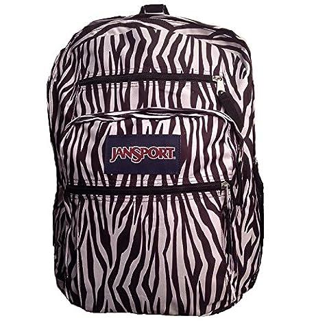 Jansport Big Student Backpack, Black and White Zebra Stripe, Black