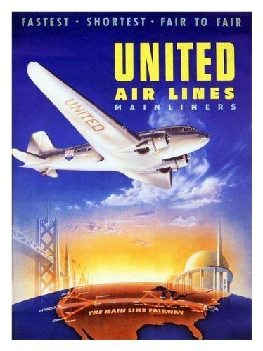 United Airlines 1939 Reise Poster - 40 X 30 cm ( Ca. 16 X 12 Inches) - United Airlines Poster