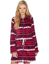 Mujer Fair Isle franela forro polar con cremallera corto de camisón/bata. Color rojo o azul. szes S M L XL
