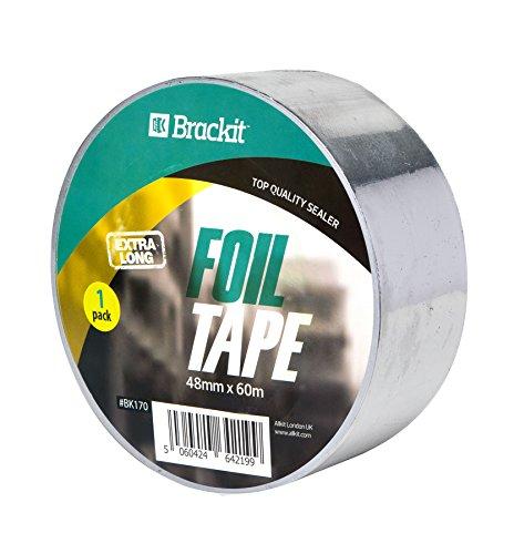 Aluminiumband Alufolie 48mm x 60 m Aluband Alu-Klebeband selbstklebend hitzebeständig leitfähig Aluminiumband Rolle Klebefolie Reparaturband zum Abdichten und Dämmen Isolierband