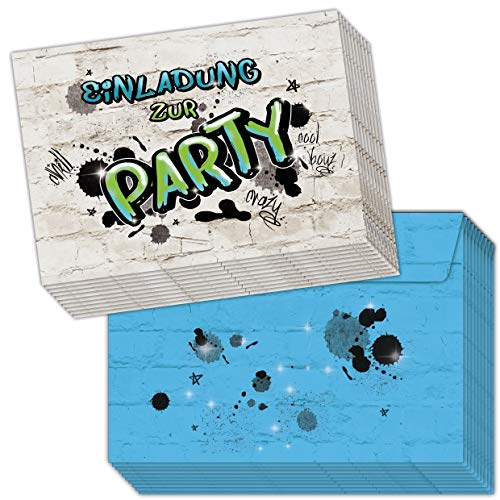 emufarm 10 EINLADUNGEN zum Kindergeburtstag Graffiti inklusive 10 passende Umschläge / Einladungskarten für Teens / Coole Einladungskarten / Einladung Party