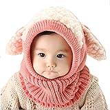 #6: Yoyorule Baby Hat, Kids Winter Warm Woolen Coif Hood Scarf Caps Hats (Pink)