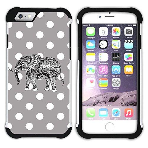 Graphic4You Stammes- Elefant Punktmuster Tupfen Muster (Wasserblau) Hart + Weiche Kratzfeste Hülle Case Schale Tasche Schutzhülle für Apple iPhone 6 Plus / 6S Plus Grau