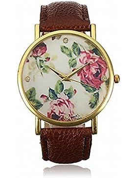Kaffee Vintage Blume Armbanduhr Basel-Stil Quarzuhr Lederarmband Uhr Rose Damenuhr