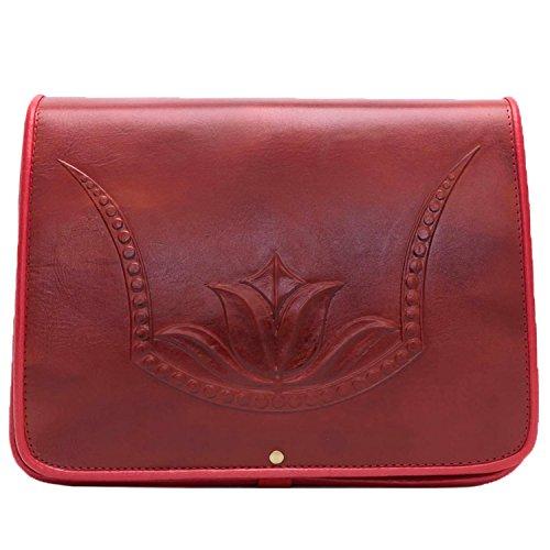 kōson Leder geformte rot Tulip handgefertigt Umhängetasche Handtasche Messenger Bag (Hobo Handtasche Leder Geldbörse Urban)