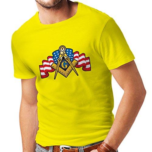 N4304 T-shirt da uomo Massoni LOGO (Large Giallo Multicolore)