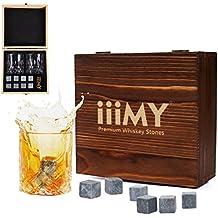 Set regalo di bicchieri e cubetti da whisky, pietre da whisky, cubetti rinfrescanti da whisky in scatola in legno artigianale - Bevande fredde senza diluizione-Set di 2bicchieri da whisky, regalo per papà, marito, uomo–iiiMY