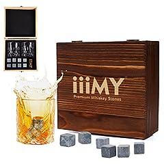 Idea Regalo - Set regalo di bicchieri e cubetti da whisky, pietre da whisky, cubetti rinfrescanti da whisky in scatola in legno artigianale - Bevande fredde senza diluizione-Set di 2bicchieri da whisky, regalo per papà, marito, uomo–iiiMY