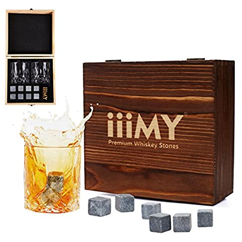 Whisky Stones and Glasses Gift Set, Whisky Rocks Chilling Stones in Handmade Wooden Box– Cool Drinks without Dilution – Whisky Glasses Set of 2, Gift for Dad, Husband, Men –