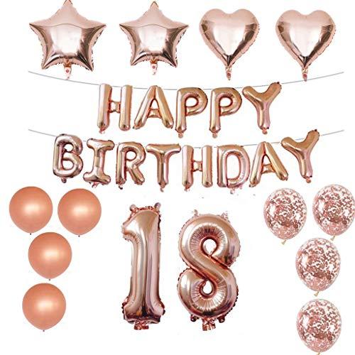 g Dekorationen Kit Folienballon 18 Geburtstag Dekorationen Rosegold für Mädchen Birthday Party Supplies Alles Gute zum Geburtstag Konfetti Happy Birthday 18 Buchstaben Banner, ()