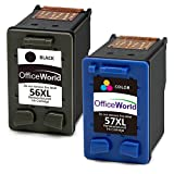 OfficeWorld Remanufactured HP 56 57 Druckerpatronen 56XL 57XL Hohe Kapazität Kompatibel mit HP PSC 1315 1215 1210, HP Officejet 5610 6110, HP Deskjet 5550 (1 Schwarz, 1 Farbe)