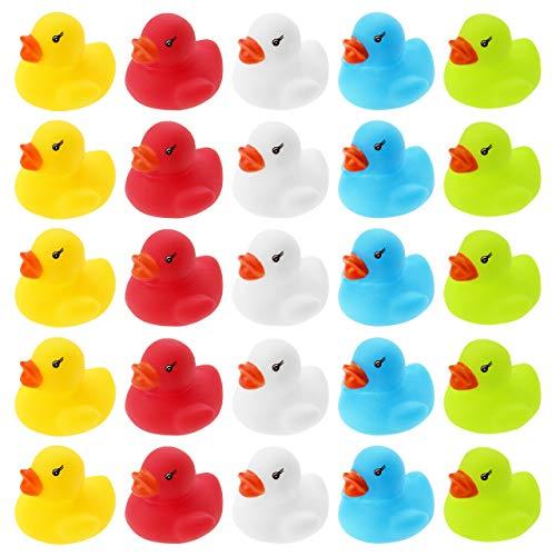 Wellgro 25 Patos de baño (Amarillo, Rojo, Blanco, Azul, Verde), Cada Pato de Quitsche-Ente Aprox. 3,5 x 3 cm (diámetro x Altura), Patito de Goma, en Red.
