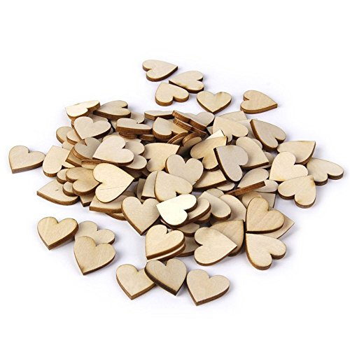 Mobengo Scrabble Wood Tiles Wooden Heart shapes Laser Cut Embellishments Craft Wedding Christmas Ornaments (40mm*40mm)