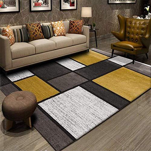 FLOORMATJING Alfombra Grande para salón o Dormitorio, diseño geométrico, Color Mostaza, Amarillo...