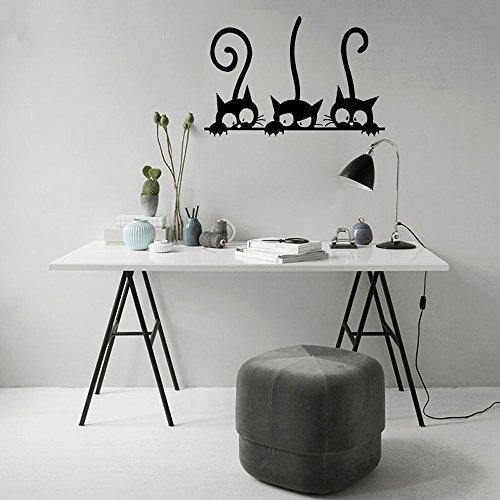 Hukz Wandaufkleber, Drei Katzen Tier Haushalt Zimmer Fenster Wandtattoo Wandbild Dekor Aufkleber Abnehmbar