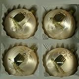 Kugeln Eislack champagner mit Kerze 4 Stück d 10cm Christbaumschmuck Weihnachtsbaumschmuck mundgeblasen, handdekoriert Lauschaer Glas das Original