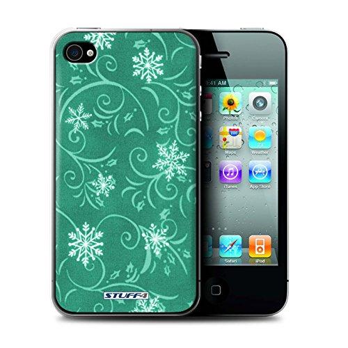 iCHOOSE Hülle / Hülle für Apple iPhone 4/4S / harter Plastikfall für Telefon / Collection Schneeflocke-Muster / Schwarz Türkis